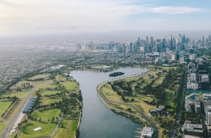 aerial photograph of Melbourne city skyline and Albert Park Lake